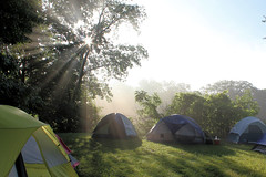 Camping Sunrise (Kyle-W) Tags: cub scout camping camp tent sunrise dew trees sky morning canon t3i 1855mm