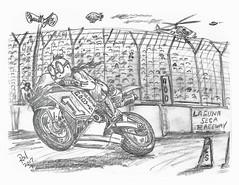 Laguna Seca (rod1691) Tags: motorcycle sketch bw scifi alien greys concept custom car retro space hotrod drawing pencil h2 hb original story fantasy funny automotive art illistration greyscale moonpie laguna