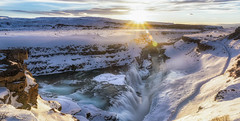 Gullfoss (FerTravelPhoto) Tags: clouds commons d750 dawn flare gullfoss iceland landscape longexposure nature nikon outdoor path peaceful serenity snow sun sunrise sunset travel water waterfall white winter winterland