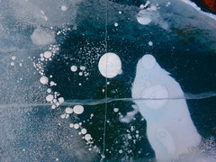 Imagine... (setoboonhong ( On and Off )) Tags: travel lake baikal siberia russia frozen ice cold patterns abstract cracks lines faults bubbles figures textures imagination snowman stars planets universe song imagine john lennon