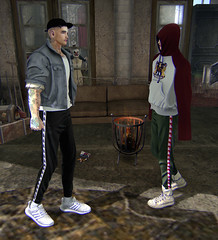 WASTED YOUTH (Levi Megadon // *OMG*) Tags: sl secondlife mens men male blog blogger outfit lotd look clothing style fashion clothes cool event tmd themensdept semller store gatcha rare denim jacket sweat pants hoodie baggy loose shirt street urban fresh