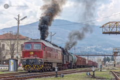 Ludmilla special in Kyustendil (BackOnTrack Studios) Tags: bdz 07111 07 111 ludmilla te109 diesel locomotive luganskteplovoz special train 4603 kuystendil station bulgarian railways freight smoke