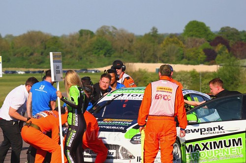 Lots of work on Josh Cook's car on the grid at the BTCC Thruxton weekend, May 2017