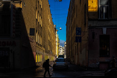 Gaps (rsvatox) Tags: saintpetersburg shadow colours russia street people cars sky sun walkers city