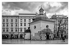 Church of St Wojciech (Old Market Square - Rynek Glowny) (BW) Krakow Old Town (Stare Miasto) (Fuji X70 28mm f2.8 Compact) (markdbaynham) Tags: krakow cracow poland polish polen polska city famous historic urban metropolis street building rynek glowny stare miast old town church bw monochrome blackwhite border fuji fujifilm transx fujix fujista fujinon prime 28mm f28 fixed compact apsc