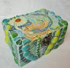 Mosaic Mermaid Box (Waschbear - Frances Green) Tags: mermaidbox mermaid mermaidmosaic beads box blue chest green glassmosaic iridescent mixedmedia piecemakers jewelrybox jewel nuggets aqua turquoise treasurechest waschbeardesigns hair