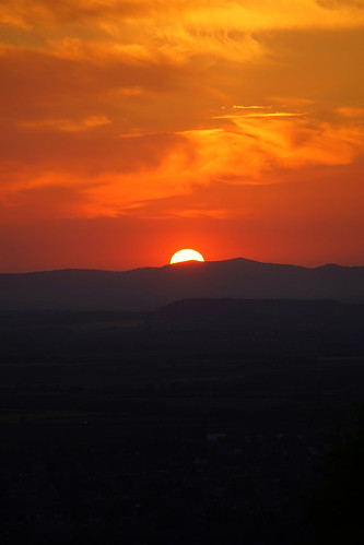 The setting sun from the Rising Sun, Cleeve Hill