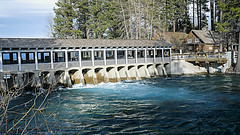Truckee River Dam (San Francisco Gal) Tags: laketahoe truckeeriverdam water dam river conifer