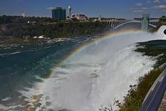 Rainbow & Rainbow Bridge At Niagara Falls (showmesavings) Tags: rainbow rainbowbridge niagarafalls waterfalls bridge water bluesky clouds