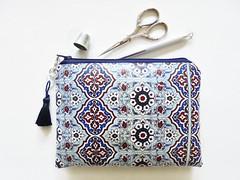 Moroccan waterproof wallet. (Jigglemawiggle) Tags: waterproofpouch waterproofwallet moroccanprint navy mocktile tileprint girlfriendgift handmade etsy jigglemawiggle folksy