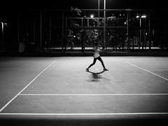 tennis (John Drossos) Tags: streetphotography streetcandid streetshots streetshot candidstreetshots candidshots night nightshot nightphotography bynight blackwhite blackandwhite tennis monochrome city urban shadows contrast