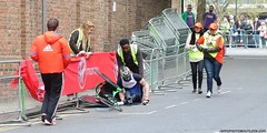 Simon Lawson is helped by stewards following a tumble (Jeff G Photo - 2.5m+ views! - jeffgphoto@outlook.c) Tags: marathon londonmarathon 2017londonmarathon londonmarathon2017 limehouse runner runners running wheelchair wheelchairrace simonlawson lawson