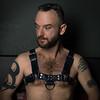 Joe in Harness @HardOn (WF portraits) Tags: usa man male portrait onlocation naked nude chest hairy leather black beard tattoo fetish gayfetish gayleather