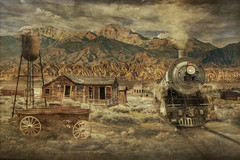 Ghost Town (brian_stoddart) Tags: usa trains transport buildings old vintage colour texture railways desert derelict steam sky montage