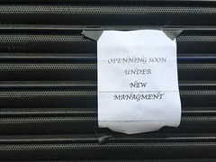 openning in Tooting (looper23) Tags: sign spelling error tooting london 2017 shop