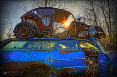 Double parked (VIEW [ + ] FINDER) Tags: rusted abandoned junk rust rusty sunrise autograveyard autosalvage junkyard junked scrapmetal volkswagen chevy chevrolet bug photomatixpro hdr pareeericaimaginarium aged texture textured nikond7000 nikkor