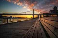 New York sunrise (urbanexpl0rer) Tags: newyork newyorkcity manhattanbridge sunrise longexposure sky clouds nopeople water goldenhour buildings