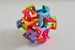 """Chapter Four"" Six Interlocking Wrinkled Diminished Tetragonal Dipoles (Byriah Loper) (Byriah Loper) Tags: origami origamimodular byriahloper paperfolding paper modularorigami modular wireframe"