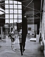 illusion-  on the exhibition (eggii) Tags: exhibition museum bw monochrome centralnemuzeumwłókiennictwawłodzi glass reflection illusion