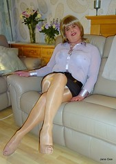 Shoe shine shuffle (janegeetgirl2) Tags: transvestite crossdresser crossdressing tgirl tv ts stockings heels gloss shine tights hosiery nylons glamour stilettos mini skirt lilac chiffon blouse jane gee office secretary nude legs thighs cross crossed