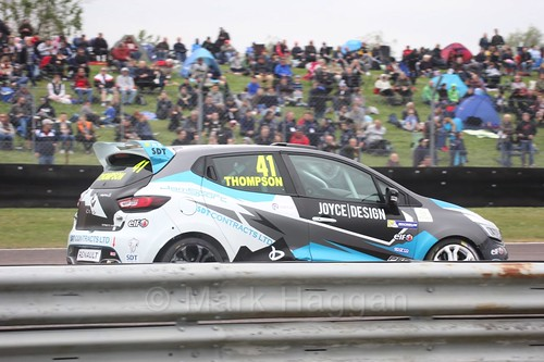 Aaron Thompson racing in the Clio Cup at Thruxton, May 2017