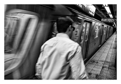 I hate rush hours! (Bert Vereecke) Tags: bert vereecke belgium street photography new york city canon eos mark ii 50mm black white bw available light candid decisive moment flickr flickriver explore scout best camera prime lens left eyed eye portrait scene snap square squareformat unposed crop real fuji xe2 short series architecture non place contemporary 35mm 56mm fujinon