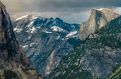 Iconic Half Dome from Tunnel View (GeorgeOfTheGorge) Tags: california snowcapped iconic yosemitenationalpark halfdome yosemitevalley may clouds valley tunnelview stitched telephoto spring