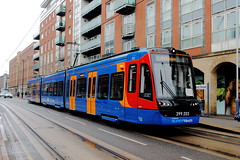 Stagecoach Supertram 399203, West Street 12/05/17 (TC60054) Tags: stagecoach sheffield supertram citylink vossloh stadler sypte tram train tramway light rail tramtrain trial dft rotherham