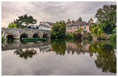 Fading light at Bridge Street over River Avon (Nick_Miles) Tags: nikon d7000 christchurch uk river water evening fading light sigma 1020 riverbank england bridge swan reflection
