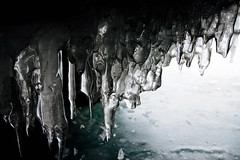 Ice of Steel (setoboonhong ( On and Off )) Tags: nature outdoor lake baikal southern siberia russia icicles reflections close up caves grotto cold ice frozen metallic sheen glaze travel bokeh bw monochrome