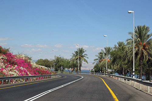 Route 90 along the Sea of Galilee