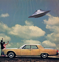 farewell. (// P*) Tags: ufo collage vintage retro sky car man woman couple