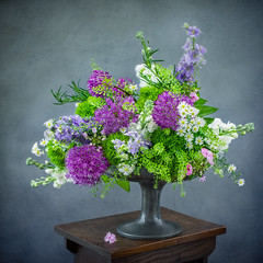 Pewter and Spring Purples and Whites (photoart33) Tags: square flowers stilllife alliums larkspur rosemary stocks purples greens whites pewter