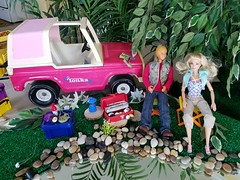 Barbie Tonka truck (moonpiedumplin) Tags: tonka truck jeep fishing ken camping kitchen cabinet bar ooak frame outdoors camp camper 1976 yellow motorhome rv traveler star scale 16 diorama fun slide party wicker furniture backyard mattel doll mansion custom diy repaint redo mcdonalds 80s pool patio cottage vintage house dream barbie