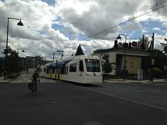 Commuters (Tysasi) Tags: trimet orangeline yellowline portlandmilwaukielightrail pmlr sn s70 avanto bicyclist bicycle
