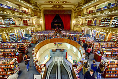 Theater Bookstore in Buenos Aires, Argentina (` Toshio ') Tags: toshio buenosaires argentina elateneograndsplendid escalator stage books bookstore teatro fujixe2 xe2 people shop theater teatrogransplendid