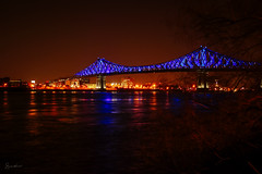 Jacque Cartier bridge - Montreal 375 years (SergeK ) Tags: yellow montreal 375 light mtlblog sergek momentfactory bridge pont explore