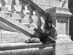 READING - Rome ( Explored) (Ageeth van Geest) Tags: street bw blackandwhite man reading rome italy free time
