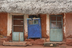 A HOUSE IN THE VILLAGE IN TOGO,  AFRICA. (vermillion$baby) Tags: africa blue done flickr green people street togo village