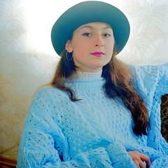 Pretty With Blue (stillphototheater) Tags: 1999 hat novosibirskrussia stillphototheater xenya