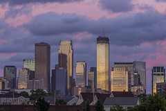 Downtown Reflecting the Sunset (Sam Wagner Photography) Tags: north minneapolis west facing glassy windows reflections skyscrapers minnesota twin cities downtown close up dramatic pink blue sunset clouds golden hour twilight
