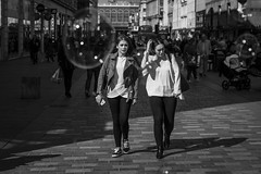 Bursting The Bubble (Leanne Boulton) Tags: monochrome people portrait urban street candid portraiture streetphotography candidstreetphotography candidportrait eyecontact candideyecontact streetlife woman female women girl girls face faces facial expression look emotion feeling atmosphere bright sunlight bubbles bubble tone texture detail depth naturallight outdoor light shade shadow city scene human life living humanity society culture canon canon5d 5dmarkiii 5d 70mm ef2470mmf28liiusm black white blackwhite bw mono blackandwhite glasgow scotland uk