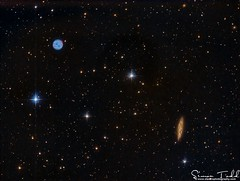M97 - Owl Nebula and M108 - Surfboard Galaxy in LRGB (Simon Todd Astrophotography) Tags: deepsky ccd atik skywatcher celestron qhy5lii sequencegeneratorpro pixinsight m97 m108 owl nebula surfboard galaxy galaxies ursamajor longexposure stacking astrophotography astronomy eq8pro 383l space deepspace nebulosity baader starlightxpress quattro ukastronomy astrometrydotnet:id=nova2063024 astrometrydotnet:status=solved