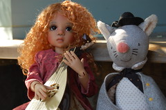 Angel and City Mouse (Emily1957) Tags: angelica mandolin bjd kayewiggs resin mouse music light naturallight nikon nikond40 kitlens doll dolls toy toys hands hat bowlerhat