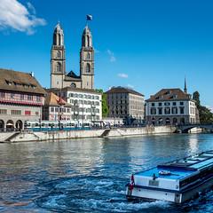 Zurich in blue (jaeschol) Tags: blau europa farbe kantonzürich kontinent limmat limmatschiffahrt schweiz stadtzürich suisse switzerland tram transport bleu blue zürich ch