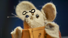 Where did I leave my eye-glasses? (Elisafox22 slowly catching up again!) Tags: elisafox22 sony nex7 50mmf28 macro carlzeiss touitmakroplanar lens hmm macromondays eyes mouse mousekin bookmark handmade felt sewing spectacles eyeglasses book reading elisaliddell©2017
