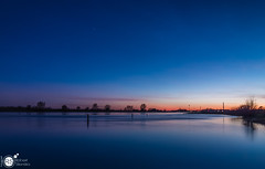 Another night at the river II (Robert Stienstra Photography) Tags: rhine river riverbanks riverscape riverrhine riverscapes riverside dutchriver landscape landscapephotography bluehour bluehourphotography sunset sunsetphotography sunsets sunsetporn reflection reflections tree trees twilight outdoor tokina1224mm robertstienstraphotography wageningen gelderland geldersestreken waterscape waterscapes beach water lake dusk sky