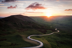 Chasing the Sun (davepsemmens) Tags: valley lighttrail cars peaks sunset road clouds