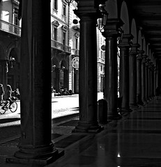 """Shadows In The City"" (giannipaoloziliani) Tags: shape extreme society life people facades sunlight sun minimal italia citylife arcs architecture difference darkness oscuro dark scuro obscure nikonofficial nikonphotography nikoncamera nikond3200 shadows lights streetcaptures streetphoto streetphotography capture black flickr nikon monocromatico biancoenero centrostorico centro coloumns torino turin italy blackandwhite monochrome historiccenter centre downtown arcades portici città city luce ombra"
