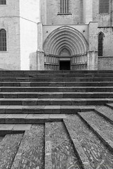 Girona (Catalunya, Spain), cathedral (clodio61) Tags: catalunya europe gerona girona spain ancient architecture blackandwhite building cathedral church city cityscape door exterior gothic historic landmark monument old outdoor photography staircase stairs steps urban